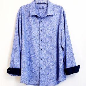 NWOT Tasso Elba Blue Longsleeve Paisley Shirt